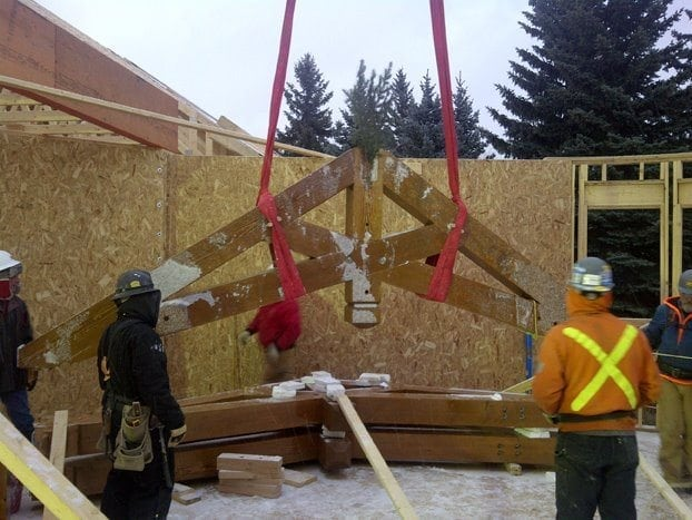 canadian timber frame raising