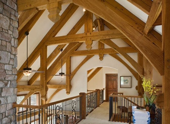 detailed timber frame loft space