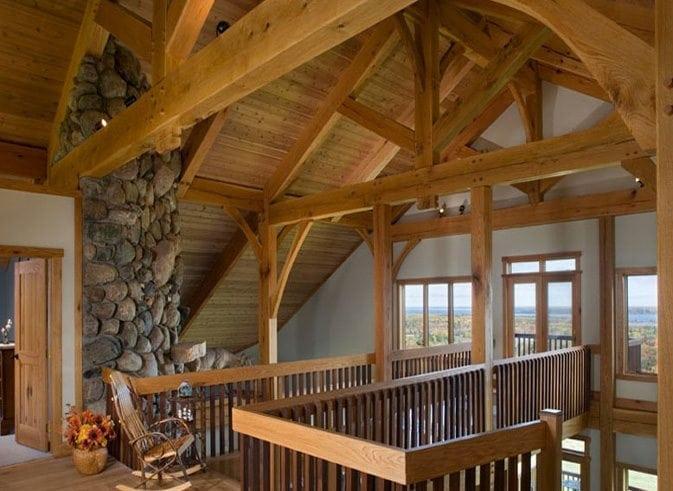 timber frame loft reaching outside
