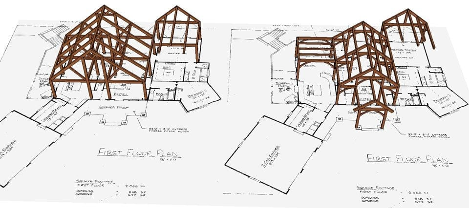timber skeleton drawings showing what the frame will look like