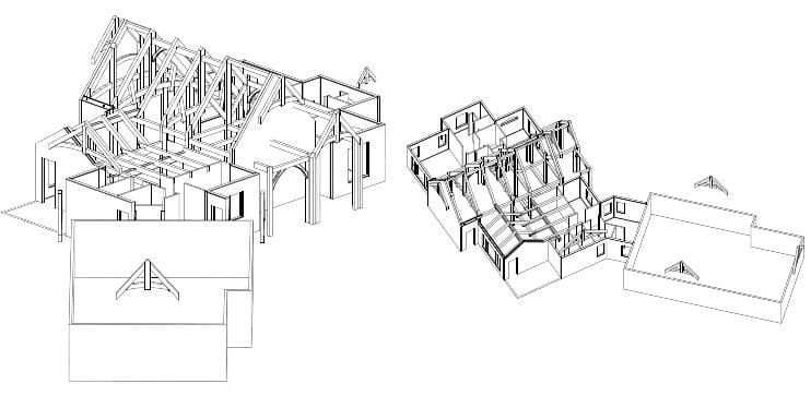 SIPs and timber frame drawing using outside architecture