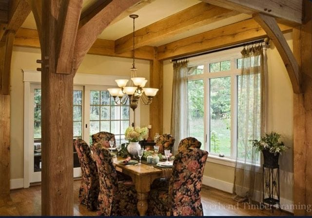 formal dining room in timber home