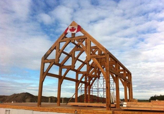 timber frame raising in canada