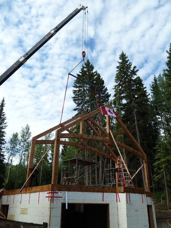 timber frame raising with canadian perspective