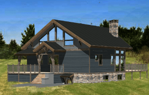 rendering of a custom timber home