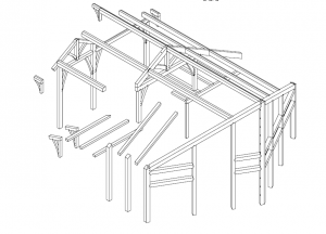 timber framing drawing of a cabin