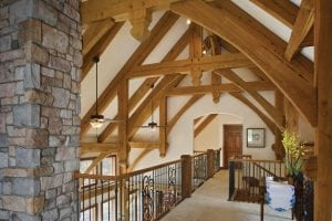 Loft and bridge surrounding by timber framing