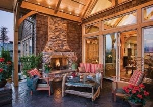 outdoor living timber frame home