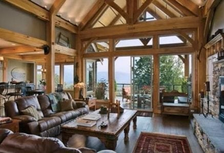 open floor plan timber frame home