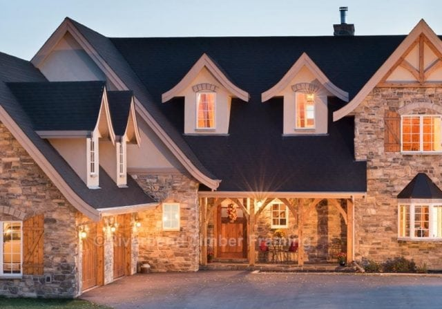 european style timber frame home