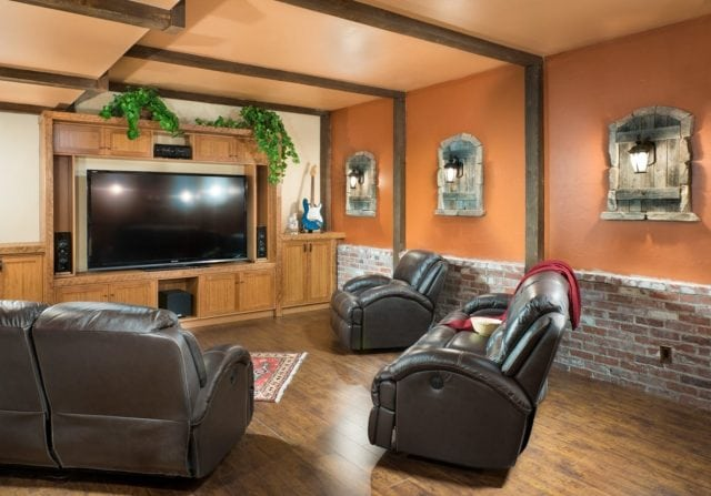 home theater with timber