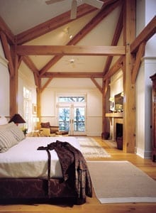 Beautiful Master Bedroom in this Timber Frame Home