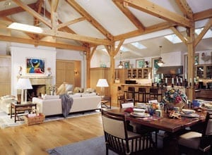 Dining and Great Room in a Timber Frame Home