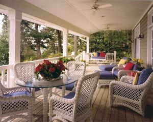 Large Timber Frame Home Deck