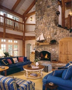 Casual Timber Frame Home Great Room