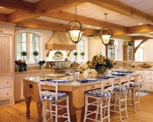 Timber Frame Kitche with Large Island