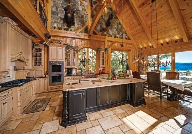 timber frame kitchen and dining space