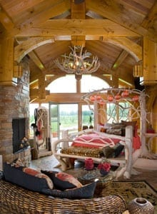 Master Bedroom in a Custom Timber Frame Home