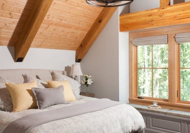 timber frame guest bedroom