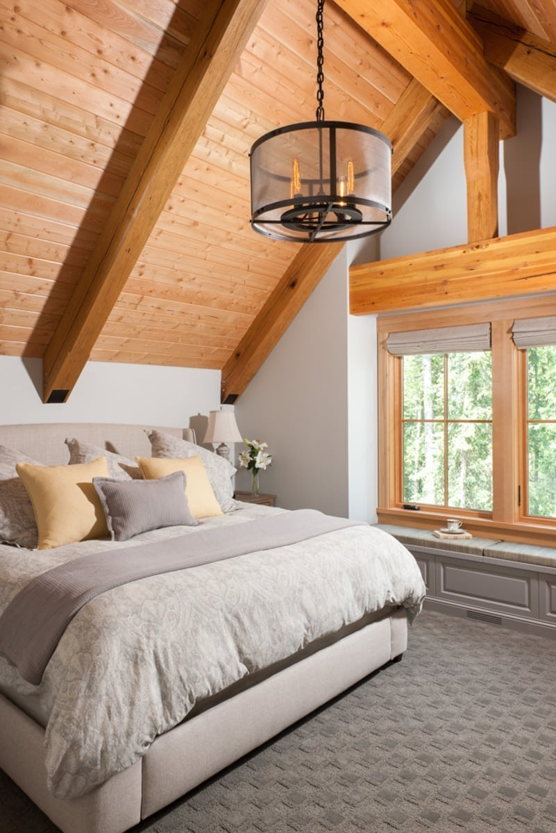 timber frame guest bedroom
