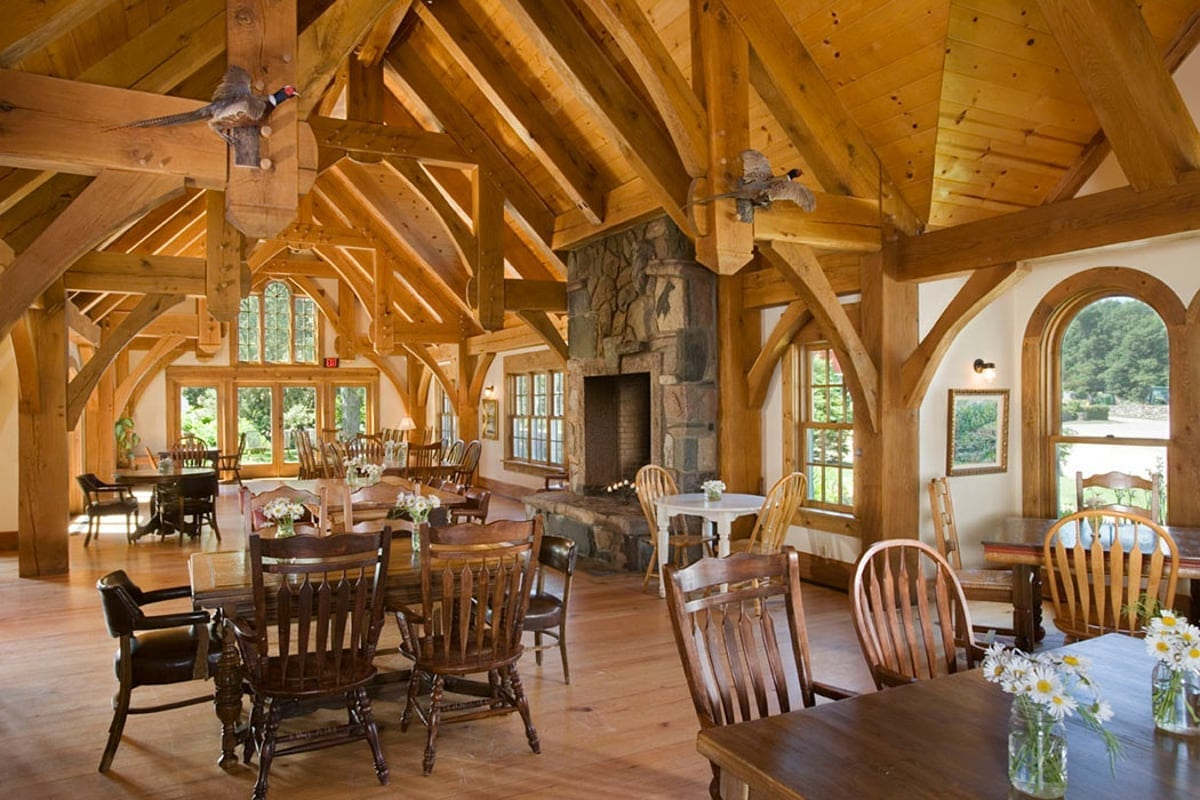 timber frame clubhouse by riverbend