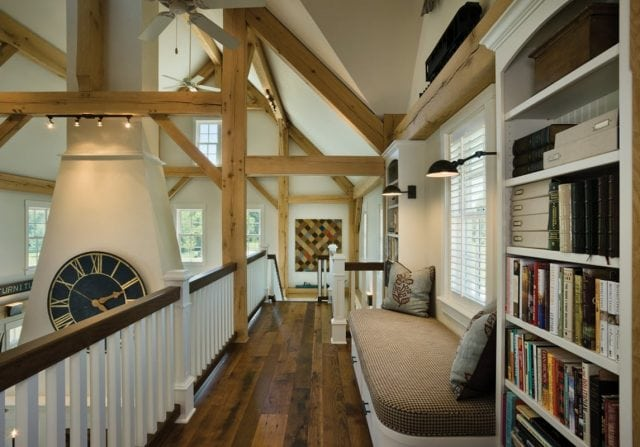 timber home loft with reading nook