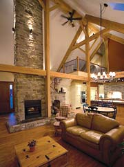 Custom timber frame great room