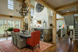 Farm house with timber frame interior