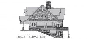 Melody Lane - timber frame home side elevation on sloped property
