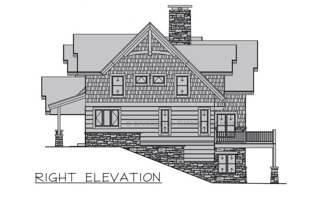 timber frame home side elevation on sloped property