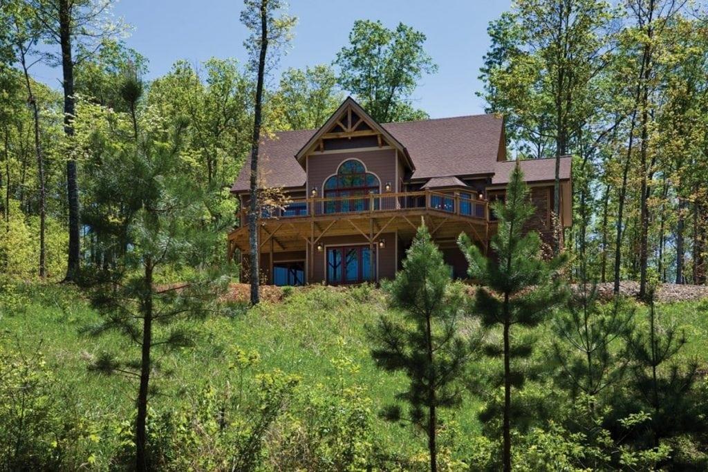 rear exterior timber frame home