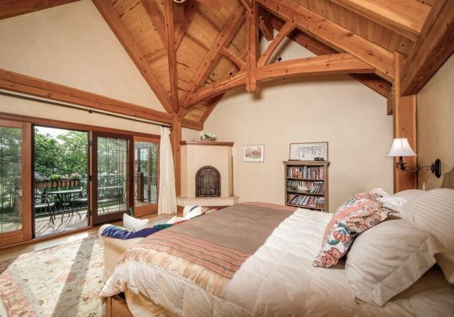 master bedroom in timber home