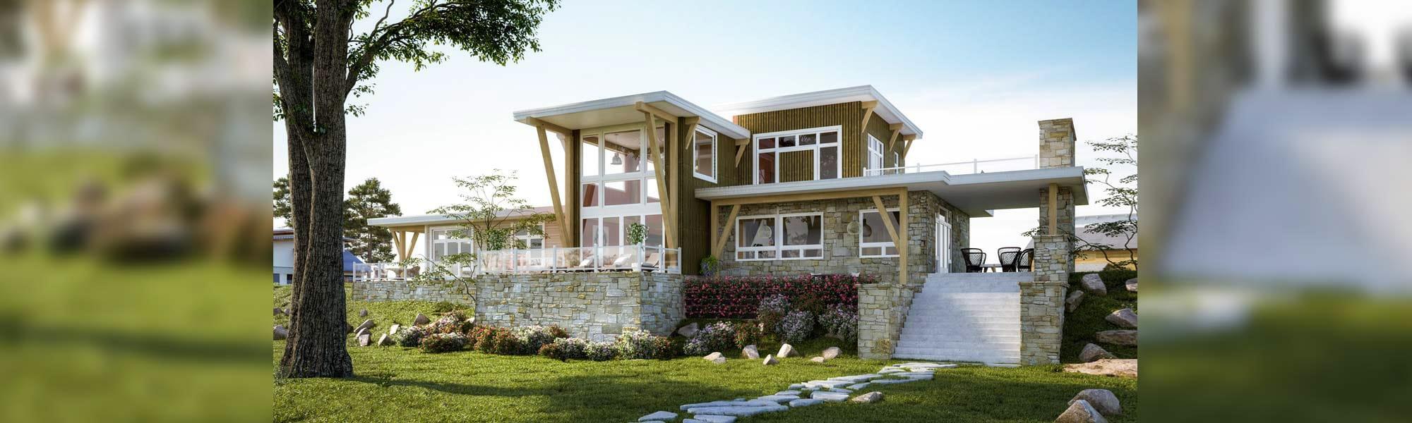 Newport modern timber frame floor plan