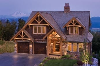 Timber Frame Exterior at Dusk