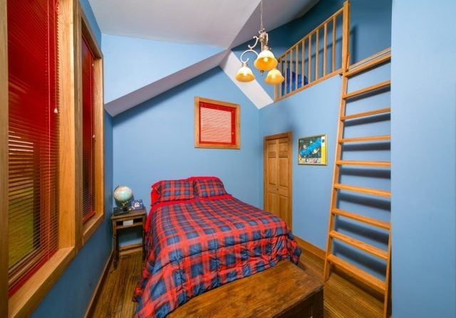 boys room in a timber frame home