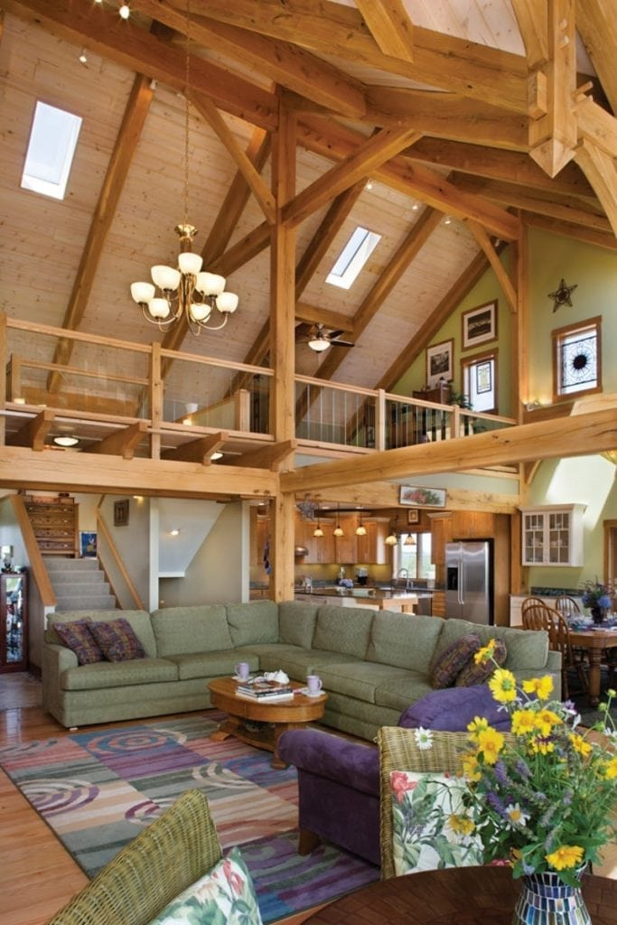 loft and great room in timber frame home