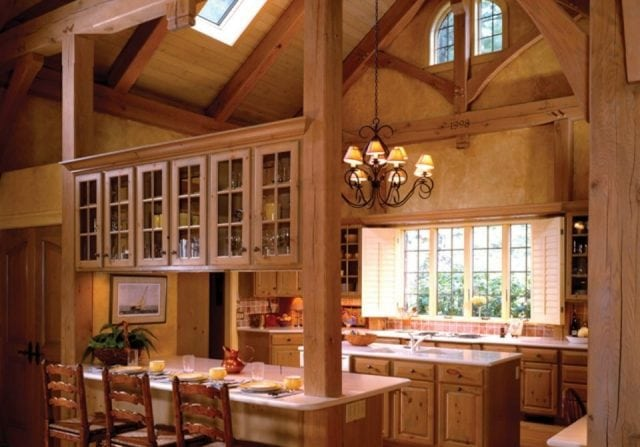 Riverbend Timber Frame Homes - timber frame kitchen