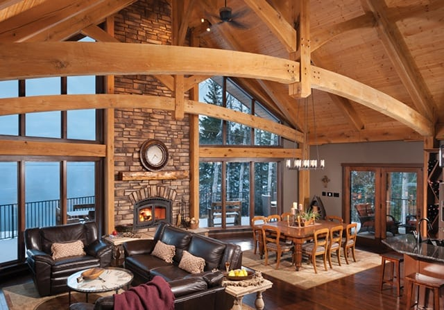 timber home living room and dining room