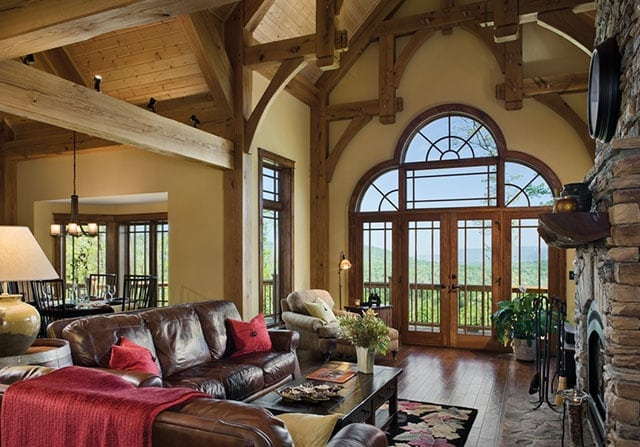Timber frame home great room