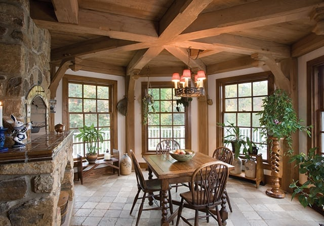 dining room timber frame home