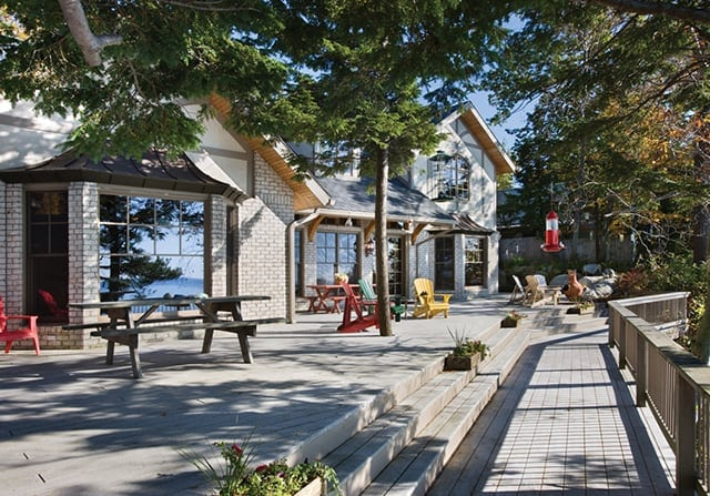 large patio timber frame home