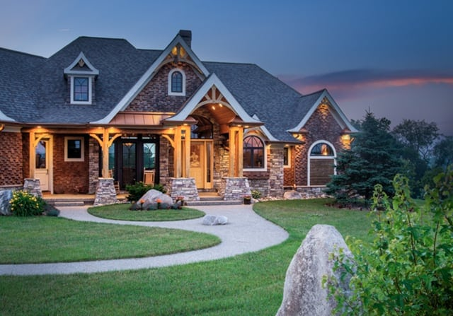 Timber frame home exterior