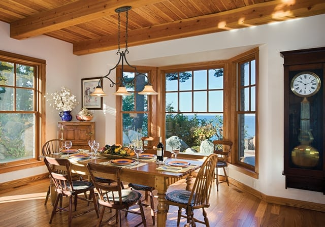 timber frame home dining room