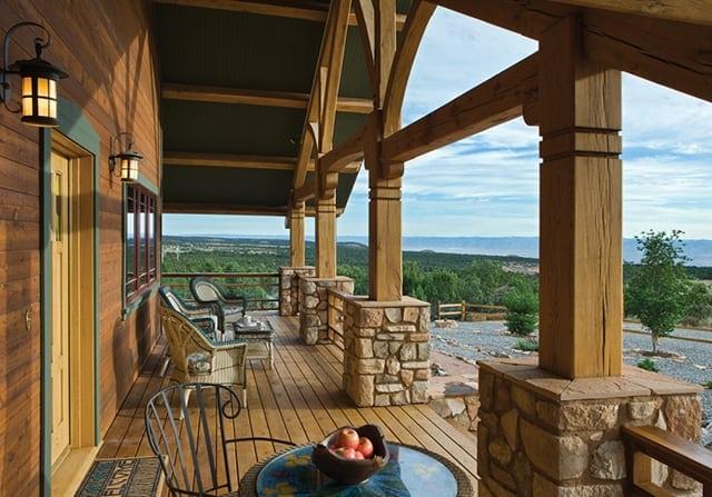 timber frame home porch