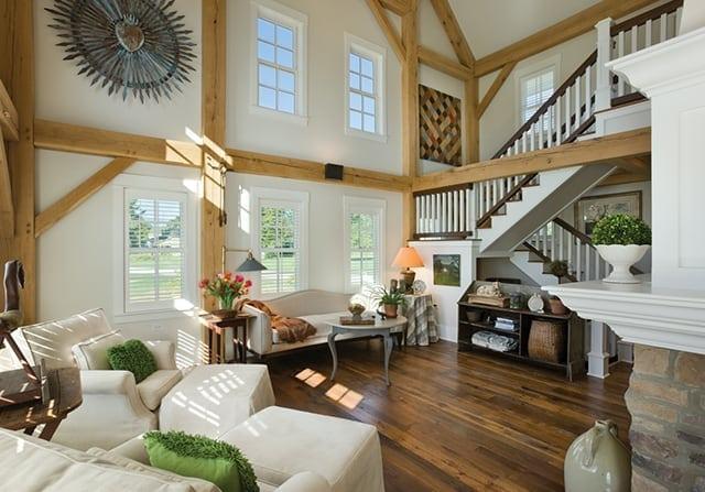 modern timber frame home living room