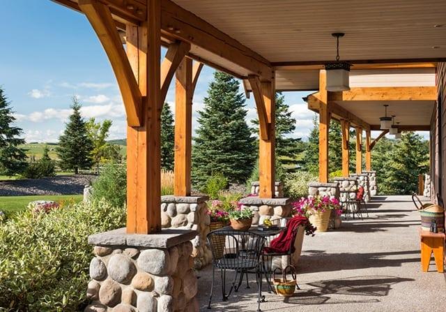 patio timber frame home