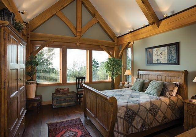bedroom timber frame home