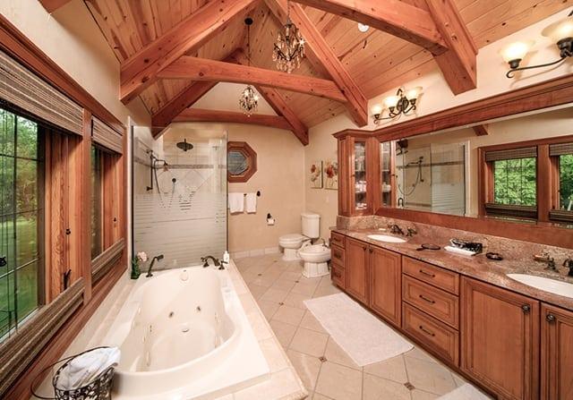 master bathroom timber home