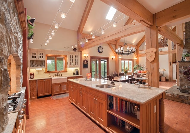 Timber frame home kitchen