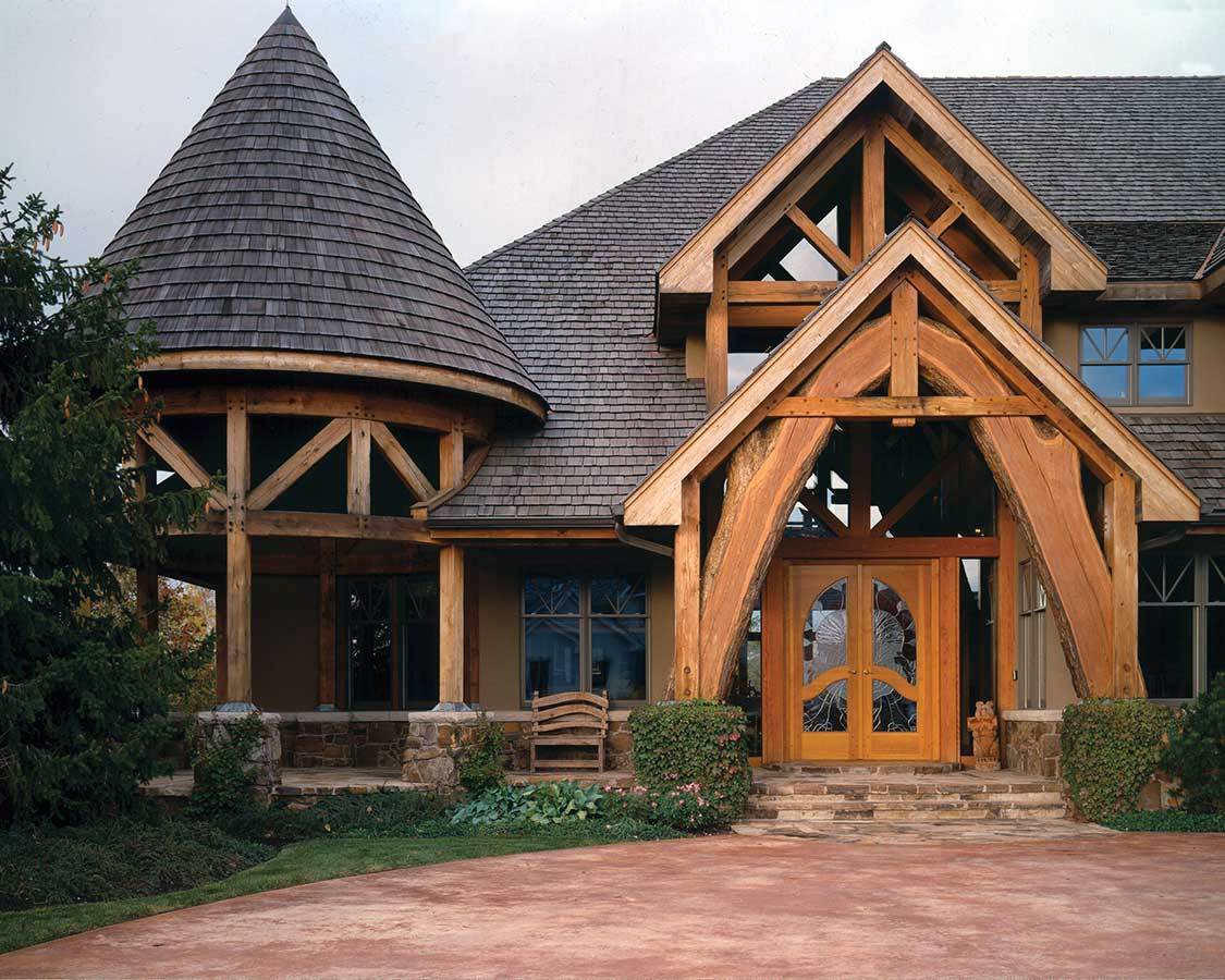 Cook County timber frame exterior entry
